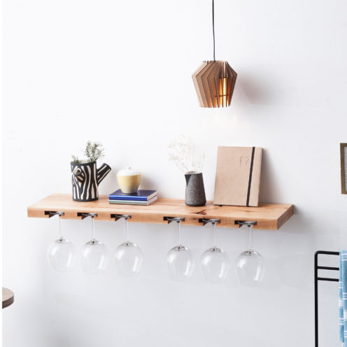 MODEL B12 glass rack, one piece pear wood