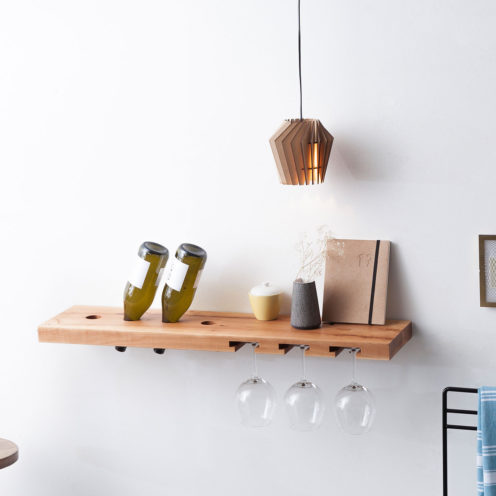 MODEL B wine and glass rack, one piece pear wood