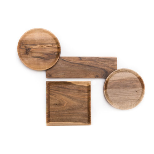 OSTE square serving plate- walnut wood in warm tones, high feet
