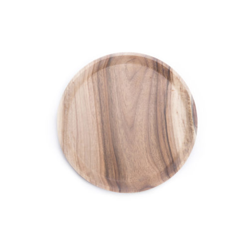 OSTE circle serving plate – walnut wood in cold tones, low feet