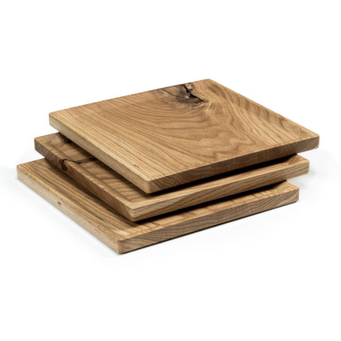 BEST plate – set of 3 square oak plates in warm-toned oil coating